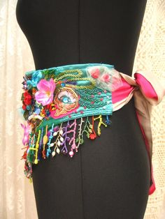 Your place to buy and sell all things handmade Böhmisches Outfit, Bohemian Art, Fabric Art, Elegant, Silk Ties, Beaded Embroidery, Wearable Art, Boho Fashion, Gypsy