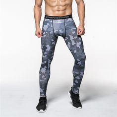 Camouflage Compression Baselayer Tights Men Joggers Leggings Elastic Waist Pencil Pants Spandex Polyester Exercise Trousers