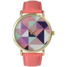 Olivia Pratt Prismatic Dial Watch ($25) ❤ liked on Polyvore featuring jewelry, watches, coral, multi colored jewelry, bezel watches, colorful watches, multicolor jewelry and leather-strap watches