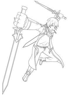 5 awesome sword art online kirito coloring pages images see more black butler chibi