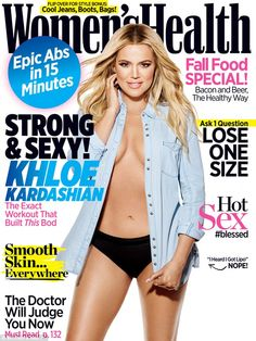 Getting there: The phrases 'Drop Two Dress Sizes' has also been banned for 2016. While Khloe Kardashian's September 2015 cover (pictured) featured the tagline 'Lose One Size', it didn't include an unrealistic time frame