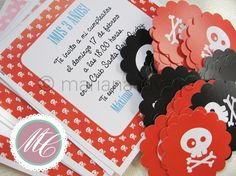 Skulls party invitation cards #party designed by Mariana Cavalie