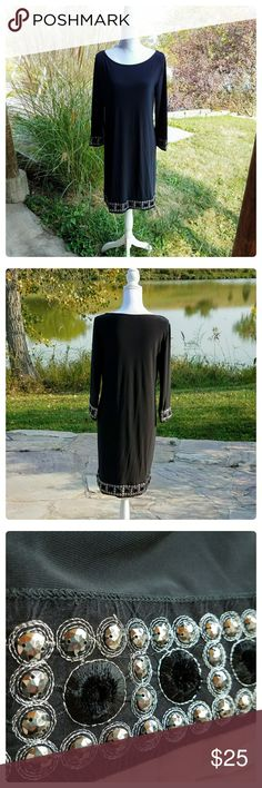 """Tiana B. Embellished Shift Dress Excellent pre-owned condition. Approximate measurements laying flat: length 34"""", bust 18"""". Three-quarter length sleeves. tiana b Dresses Mini"""
