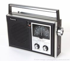 Near Mint 70's 80's Vintage PANASONIC RF-596 Black Silver AM FM Transistor Radio #PANASONIC