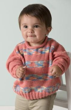 Playful Stripes Pullover Free Knitting Pattern from Red Heart Yarns This pattern looks great, I'm going to have to try make this for my friends child! Knitting For Kids, Free Knitting, Knitting Projects, Jumper Knitting Pattern, Baby Knitting Patterns, Crochet Baby, Knit Crochet, Free Crochet, Crochet Pattern