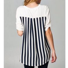 Chiffon Back Tunic Chiffon Back Tunic. Black and White Stripes on back and white on front. Aprilspirit Tops Tunics