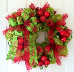 FALL SALE: Whimsical, Lime Green & Red Striped Deco Mesh Christmas Wreath with Gorgeous Lime Green Merry Christmas Tree Top Bow on Etsy, $75.00