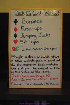 Deck of cards workout.