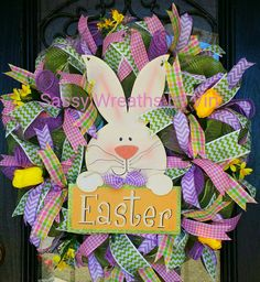 Check out this item in my Etsy shop https://www.etsy.com/listing/265113446/easter-bunny-mesh-wreath-door-hanger