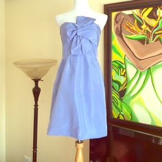 NWT J Crew formal strapless dress Periwinkle strapless silk dress has slit pockets and adjustable built in support as seen in second photos. J. Crew Dresses Strapless