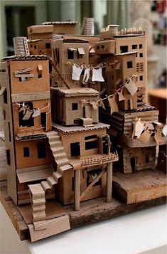Cardboard City, Cardboard Sculpture, Cardboard Crafts, Paper Crafts, Cardboard Houses, Cardboard Mask, Paper Houses, Art Crafts, Decor Crafts