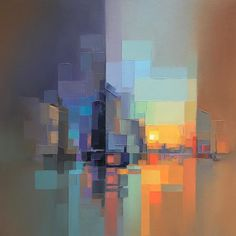 Abstract Landscape Paintings by Jason Anderson Abstract Landscape Painting, Landscape Art, Landscape Paintings, Abstract Art, Sunset Landscape, Art Paintings, City Painting, Abstract Portrait, Portrait Paintings