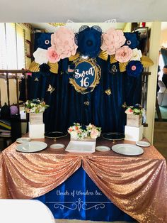 Practical Products In Great Quinceanera Party Decorations - Happier Every Day Blue Party Decorations, Sweet 16 Decorations, Quinceanera Decorations, Quinceanera Party, Party Themes, Blue Birthday Parties, Sweet 16 Birthday, 15th Birthday, Pink Sweet 16