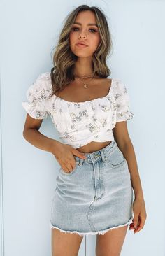 Heritage Wrap Top White Floral – Beginning Boutique Girly Girl Outfits, Teenage Girl Outfits, Teen Fashion Outfits, Cute Outfits For Girls, Fashion Clothes, Trendy Summer Outfits, Cute Casual Outfits, Summer Clothes For Teens, Summer Fashion For Teens