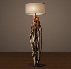 RHs Antiqued Metal Drum Floor LampSend focused light upward and