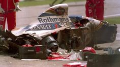 Ayrton Senna died on in a crash at Tamburello corner while leading the 1994 San Marino Grand Prix. :-( Still best driver ever. F1 Crash, San Marino Grand Prix, Gerhard Berger, Aryton Senna, F1 Drivers, Karting, Indy Cars, F1 Racing, Car And Driver