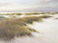 """This is Jim Palmer's """"Slight Breeze"""" chronicles the ever present Atlantic winds in acrylic. See more of his work by clicking the image.  #art #fineart #painting #arttovisit #gallery #painter #artist #artalive #lifeofanartist #supportart #artbeat #modernart #contemporaryart #charleston #southcarolina #northcarolina #hiltonhead #lowcountry #savannah #georgia #southernart #southernmasters #downsouth #eastcoast #coastal #ocean #atlantic #wind #windy #beach #breezy #seaside #sea #landscape #green"""