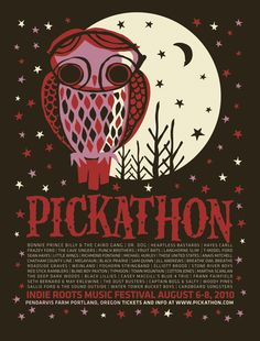 39d8f5dbc8bb Pickathon owl poster from Funturtle Printworks Cool Posters, Band Posters,  Festival Posters, Concert
