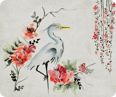 Oriental, Heron, Mousepad, Mouse pad, Monogram, Personalized, Initials, Name, Japanese, Ergonomic, Artistic, Custom, Handmade, Chinese by MugShotsCrafts on Etsy