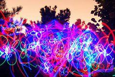 Butterfly Acid Trip (razorberries) Tags: longexposure nightphotography trees lightpainting colors forest lights butterflies led evergreens acidtrip sooc straightoutofcamera