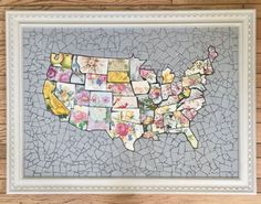 Continental United States Map - Mosaics by Kim - Vintage Plate Collection - Gift America Patriotic Patriotism