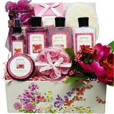 Art of Appreciation Gift Baskets Peony Pleasures Spa Bath and Body Care Package Set - Happy Friendship Day Gifts - festchacha.com