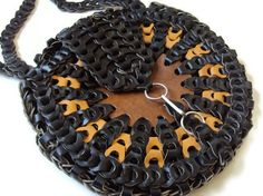 VIntage 70's Woven Leather Purse Chain by YesterdaysSilhouette, 112.00
