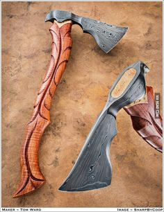 Axe by Tom War at Tempest Craft. Make this but put a cap on the top that has the two nails attached that would swell the wood to secure the axe head. Cool Knives, Knives And Tools, Knives And Swords, Vikings, Beil, Fantasy Weapons, Custom Knives, Damascus Steel, Knife Making