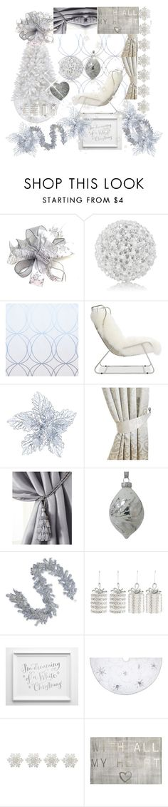 """Silver white holiday home"" by greensparkle1 ❤ liked on Polyvore featuring interior, interiors, interior design, home, home decor, interior decorating, Winward, Mitchell Gold + Bob Williams, Elrene Home Fashions and National Tree Company"