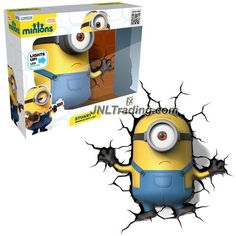 3DLightFX Minions Series Battery Operated 10 Inch Tall 3D Deco Night Light - STUART Minion with Light Up LED Bulbs and Crack Sticker
