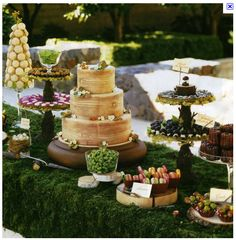 Wedding Dessert and Candy Displays, Add tasty flair to an elegant or rustic wedding reception with a dessert table that tantalizes guests while reflecting your unique personality., Wedding Dessert and Candy Displays Decoration Buffet, Deco Buffet, Woodland Wedding, Rustic Wedding, Wedding Day, Woodland Theme, Wedding Reception, Woodland Cake, Woodland Party