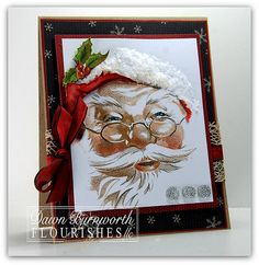 Wednesday, November 2011 Santa I Believe by - Cards and Paper Crafts at Splitcoaststampers Create Christmas Cards, Beautiful Christmas Cards, Christmas Paper Crafts, Handmade Christmas, Vintage Christmas, Holiday Cards, Christmas In July, Christmas Ideas, Christmas Things