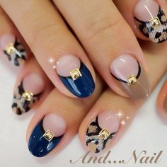 black lined navy & leopard deep french nail