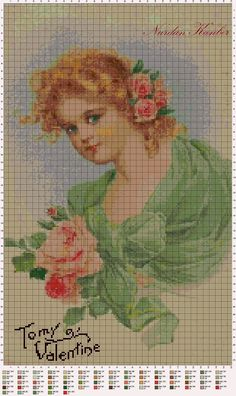 """""""To my Valentine"""" Cross Stitch Freebies, Counted Cross Stitch Patterns, Cross Stitch Charts, Cross Stitch Designs, Embroidery Applique, Cross Stitch Embroidery, Embroidery Patterns, Cute Cross Stitch, Cross Stitch Rose"""