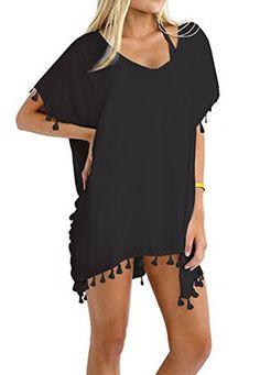 Oryer Womens Chiffon Tassel Beachwear Stylish Swimwear Bikini Swimsuit Cover up:… Swimsuit Cover Up Dress, Swimwear Cover Ups, Bikini Swimwear, Women's Bikinis, Kaftan, Trendy Swimwear, Beach Wear, Beach Attire, Look Chic