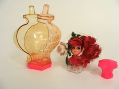 vintage 60s 1967 Kiddle Kologne ROSEBUD Red Hair Glitter Hem & Flower Variant w/ Stand Scented Doll Liddle Kiddles Cologne Bottle Mattel Toy by wardrobetheglobe on Etsy https://www.etsy.com/listing/510824365/vintage-60s-1967-kiddle-kologne-rosebud