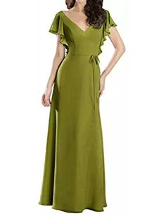Bridesmaid Dresses Evening Prom Gowns Long Chiffon Cap Sleeve Pleated V-Neck