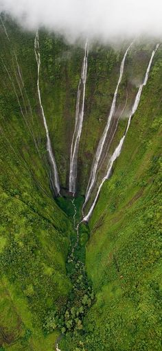 Helicopter View of 2000 ft High Waterfalls, the Big Island, Hawaii.