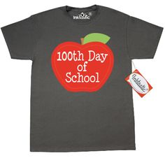 100th Day Of School T-Shirt - Charcoal Grey has cute stitch apple design. Celebrate 100 days with your students. Everyone loves our Custom T-Shirts! Wardrobe essential for looking good, 24/7. 5.0 oz., pre-shrunk 100% cotton. Seamless 1x1 rib collar. Shoulder-to-shoulder taping. Double-needle stitched sleeves, bottom hem and front neck. Note: greys are a cotton/polyester blend.