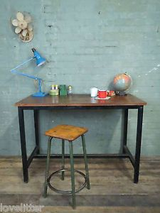 Vtg Wood Metal School Lab Desk Kitchen Dining Table Industrial Work Bench