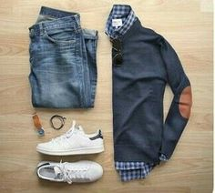 Stitch Fix Men September 2016 men's fall outfit classic cute and preppy. - Tennis Adidas - Ideas of Tennis Adidas - Stitch Fix Men September 2016 men's fall outfit classic cute and preppy. Love the elbow patch sweater. Mode Masculine, Smart Casual, Casual Looks, Mode Outfits, Fashion Outfits, Fashion Ideas, Fashion Shoes For Men, Shoes Men, Fashion 2017