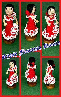 Crochet Amigurumi Gypsy Flamenco Dancer ... My own design.