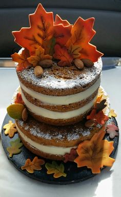Pumpkin cake with cream cheese filling. # naked cake