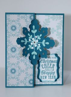 Stampin UP Christmas Cheer Snowflake Flip Card by FanciesByFrancie