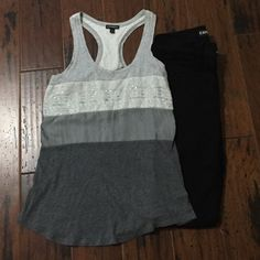 Express Tank Top Very cute tank top with some lace and sequin detail.  Does appear to have one little spot on middle gray section.  You should be able to see this in picture 2.  It isn't too noticeable when wearing. Express Tops Tank Tops