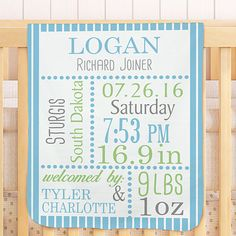 Personalized Birth Announcement Baby Blanket | GiftsForYouNow.com