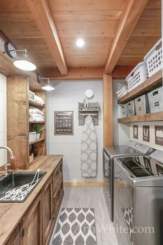 """Our Laundry Room """"Machine"""" Tour + Sources (Ana White) Outdoor Laundry Rooms, Rustic Laundry Rooms, Farmhouse Laundry Room, Small Laundry Rooms, Laundry Room Organization, Laundry Room Design, Basement Laundry Rooms, Laundry Room With Storage, Laundry Room Island"""