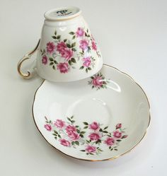 Regency English teacup and saucer - Bone china tea cup and saucer - Pink roses - shabby chic by belvidesigns, via Flickr
