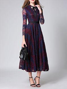 #AdoreWe #StyleWe Midi Dresses - Designer Y&M Burgundy Elegant Bow A-line Gupure Lace Pierced Midi Dress - AdoreWe.com