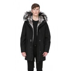 Moritz-X Twill Parka Jacket With Fur Lined Hood (135.210 RUB) ❤ liked on Polyvore featuring men's fashion, men's clothing, men's outerwear, men's jackets, mens fur lined jacket, mens twill jacket, mens zip jacket, mens oversized denim jacket and mens zipper jacket